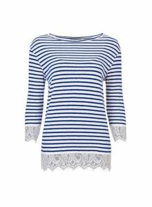 Womens Ivory And Navy Striped Top- Blue, Blue