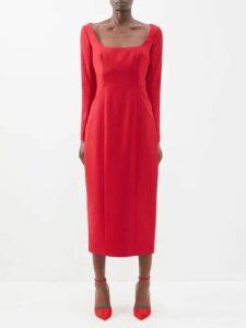 Figue - Caroline Foil Print Crepe Wrap Dress - Womens - Black Gold
