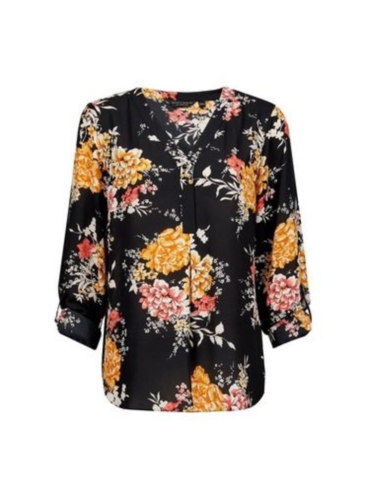 Womens Black Floral Print Roll Sleeve Blouse- Multi Colour, Multi Colour