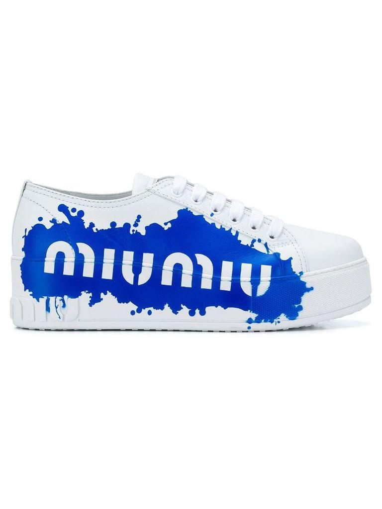 Miu Miu logo print sneakers - White