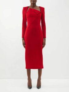 Fendi - Parakeet-print Georgette Dress - Womens - Brown Multi