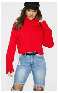 Red Ribbed Roll Neck Cropped Jumper, Red