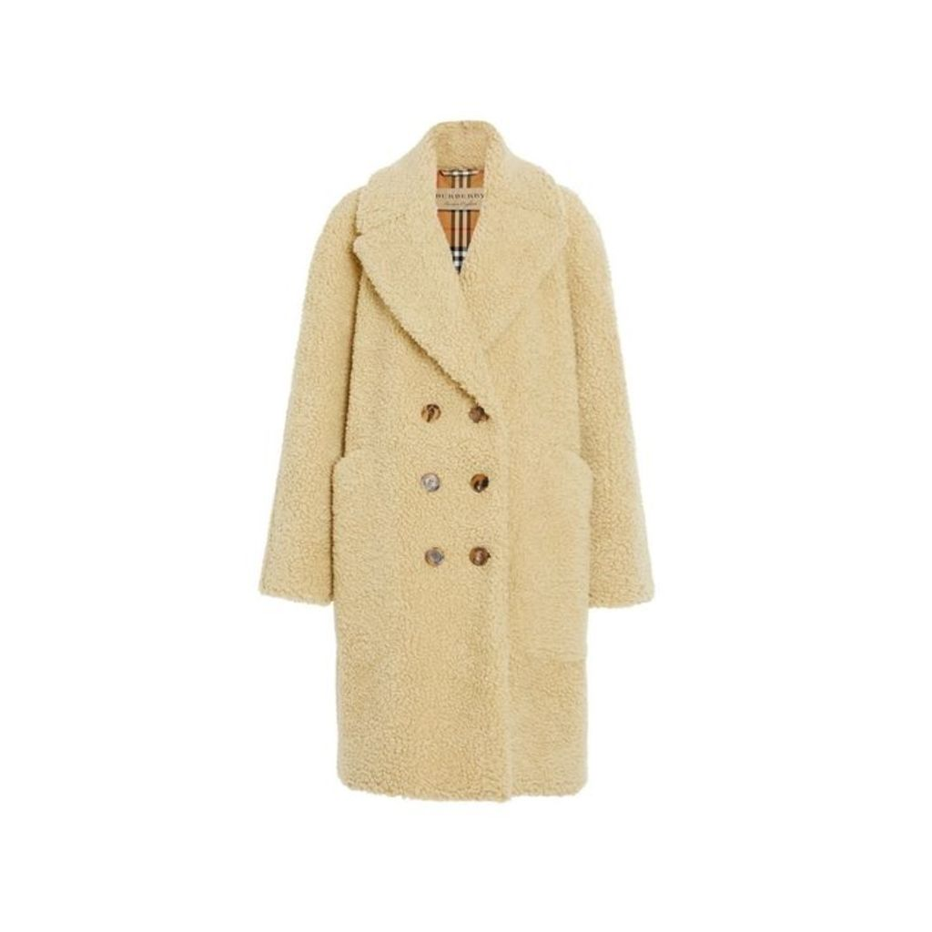 Burberry Faux Shearling Double-breasted Oversized Coat