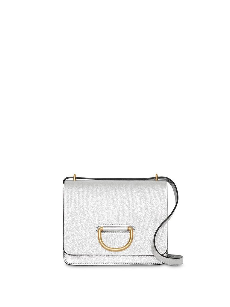 Burberry The Small Metallic Leather D-ring Bag - Silver