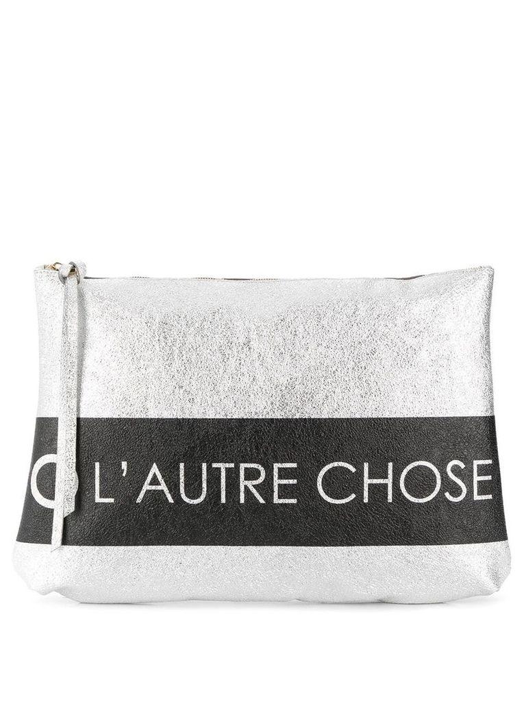 L'Autre Chose logo print clutch bag - Silver