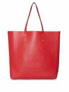 Burberry Large Embossed Crest Leather Tote - Red