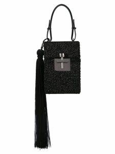 Oscar de la Renta beaded satin Alibi bag - Black