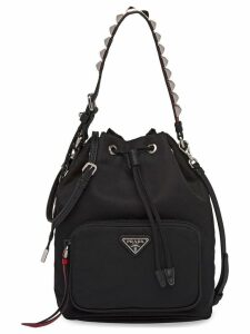 Prada studded-strap shoulder bag - Black