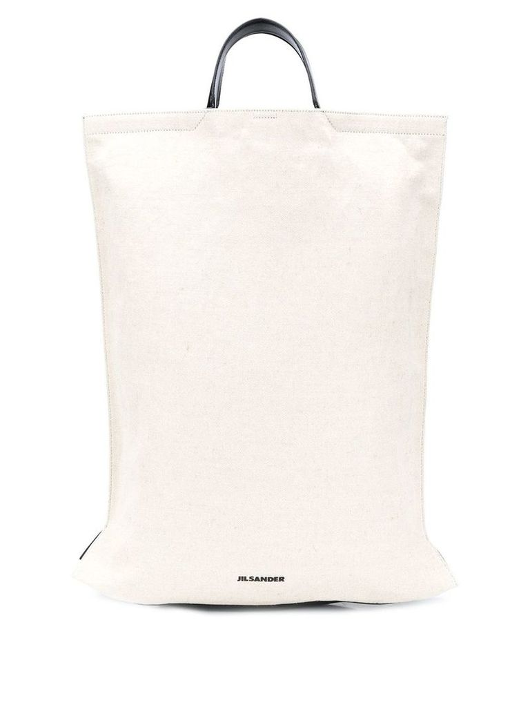 Jil Sander two tone shopper tote - Neutrals