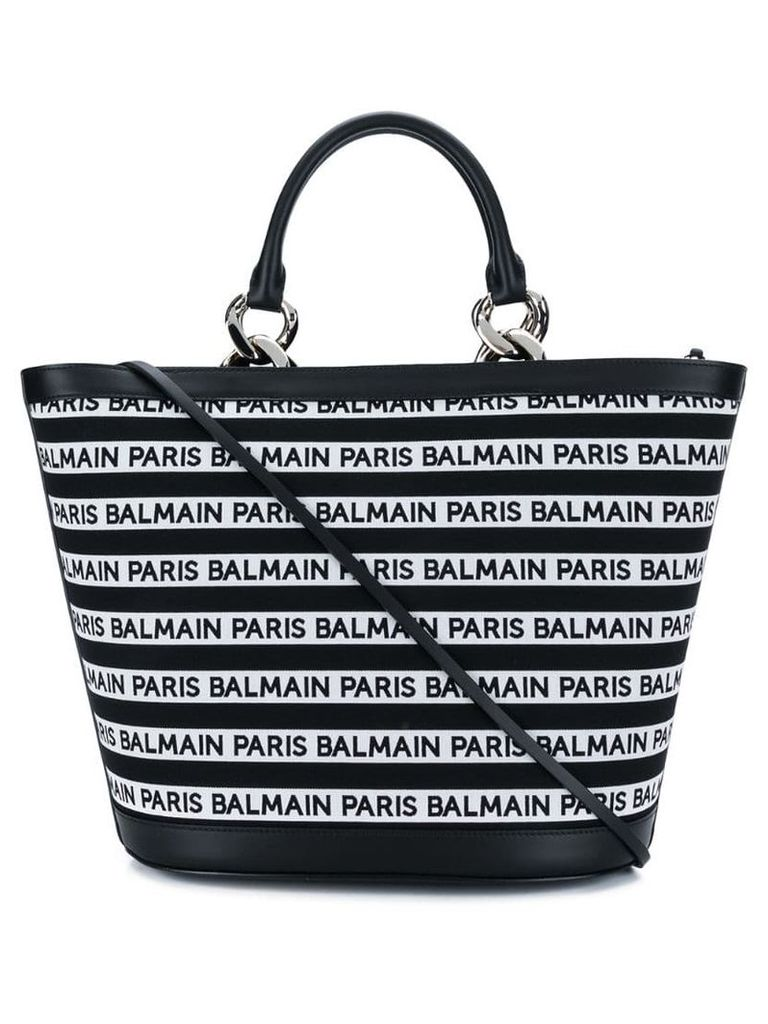 Balmain striped logo tote - Black