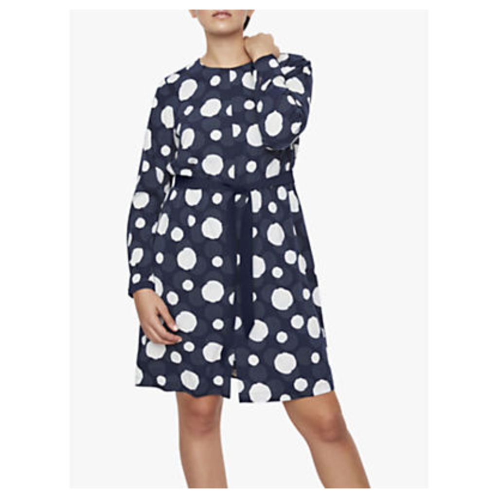 I.Scenery Curve Fila Polka Dot Tie Waist Dress, Blue