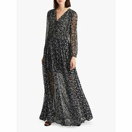 French Connection Amelia Maxi Shirt Dress, Utility Blue/Multi
