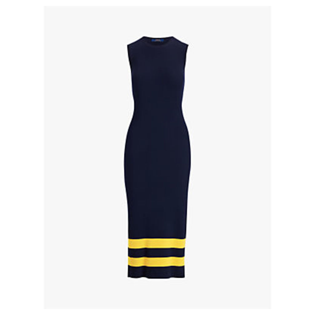 Polo Ralph Lauren Sleeveless Bodycon Stripe Wool Dress, Navy/Gold