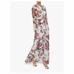 Gina Bacconi Dionne Chiffon Belted Maxi Dress, Rose/Multi