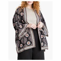 Max Studio + Geo Print Kimono, Black/Blush
