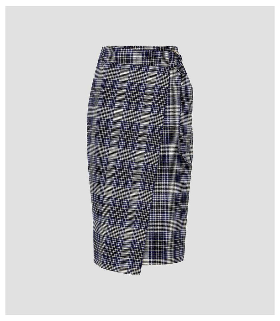 Reiss Josie Skirt - Checked Wrap Front Skirt in Blue Check, Womens, Size 14