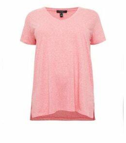 Curves Mid Pink V Neck Step Hem T-Shirt New Look