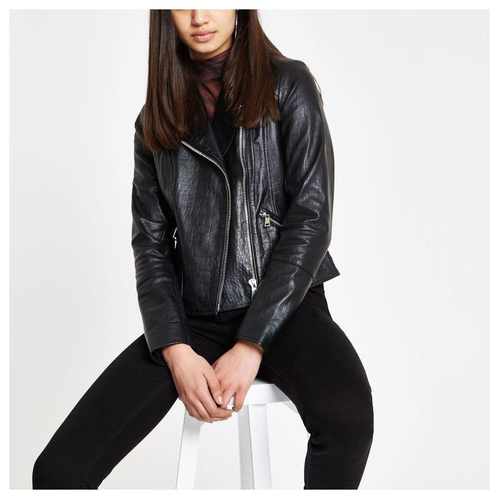 Womens Black leather croc biker jacket