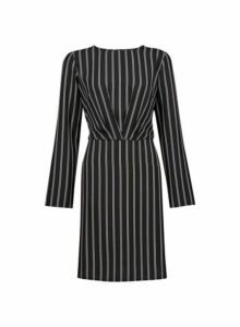 Womens **Black Long Sleeve Tuck Dress- Black, Black