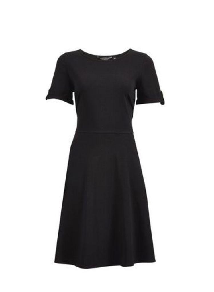 Womens Black Short Sleeve T-Shirt Dress- Black, Black