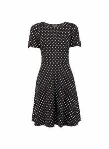 Womens Black Spot Print Fit And Flare Dress- Black, Black
