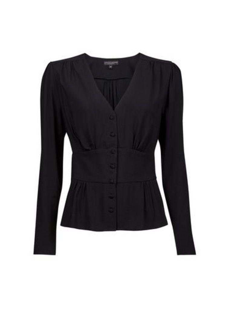 Womens **Black Button Long Sleeve Top- Black, Black