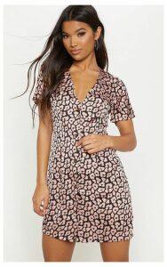 Light Pink Leopard Print Button Front Shift Dress, Light Pink