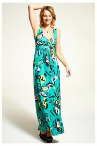 Womens HotSquash Green Sleeveless Empire Line Maxi Dress -  Green