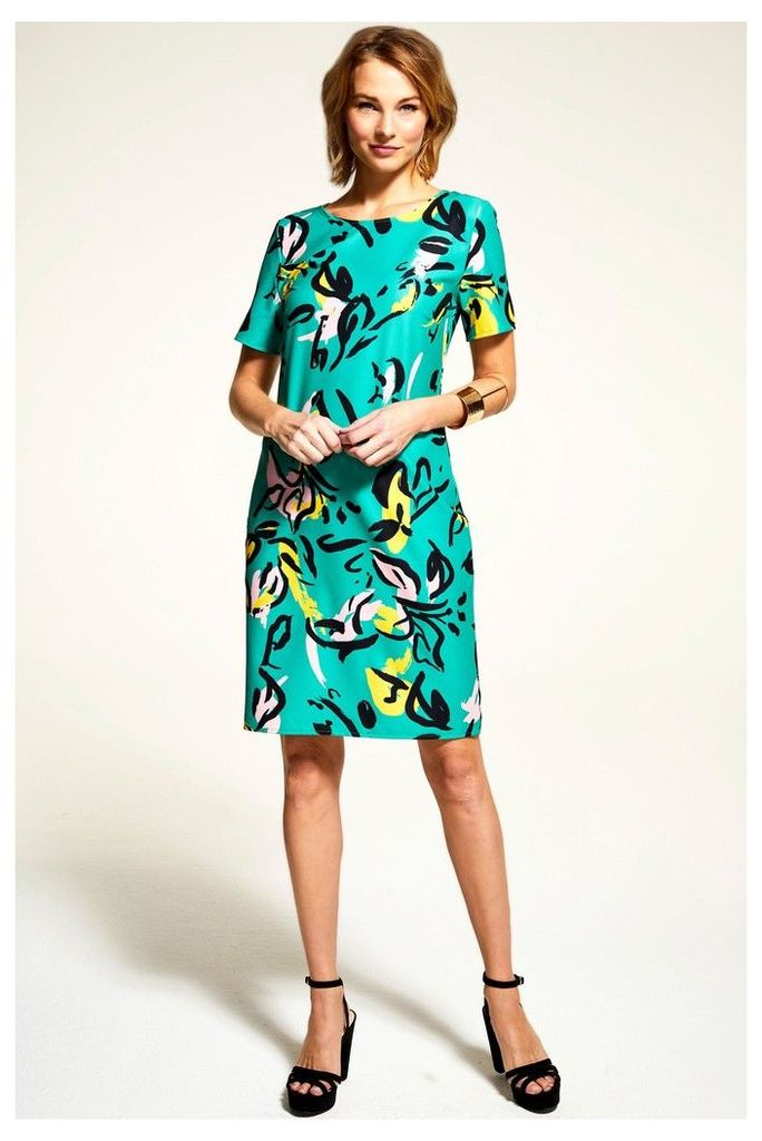 Womens HotSquash Green Rivera Short Sleeved Print Shift Dress -  Green