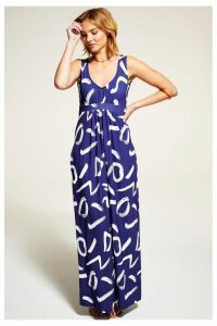 Womens HotSquash Navy Sleeveless Empire Line Maxi Dress -  Blue
