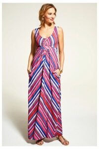 Womens HotSquash Striped Sleeveless Empire Line Maxi Dress -  Red