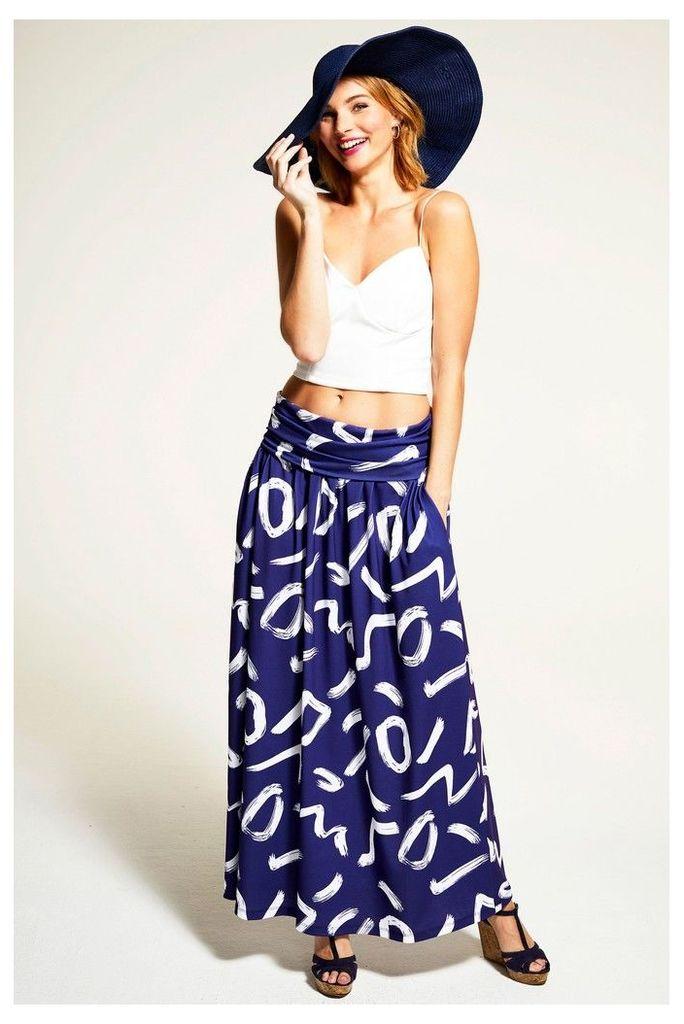 Womens HotSquash Navy/White Roll Top Maxi Skirt -  Blue