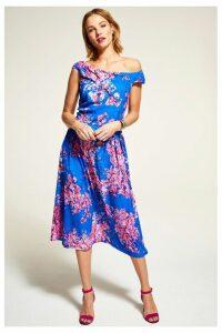 Womens HotSquash Blue Floral Midi Length Tea Dress -  Blue