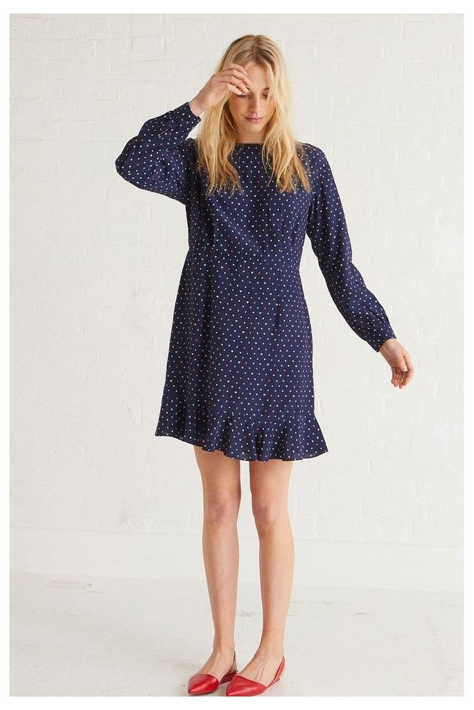 Womens Oliver Bonas Blue Heart Spot Dress -  Blue
