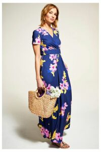 Womens HotSquash Blue Floral Short Sleeved Empire Line Maxi Dress -  Blue
