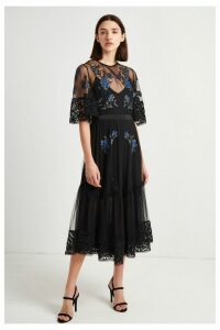 Womens French Connection Black Embroidered Floral Dress -  Black