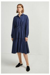 Womens French Connection Blue Floretta Drape Tiered Shirt Dress -  Blue