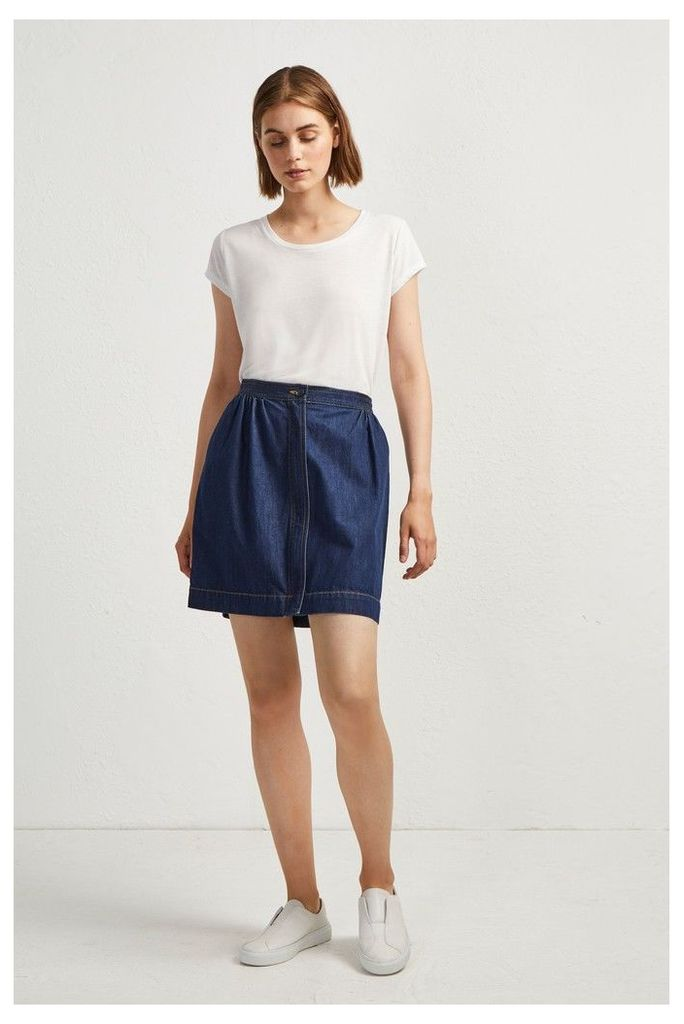 Womens French Connection Blue Jule Contrast Stitch Pocket Skirt -  Blue