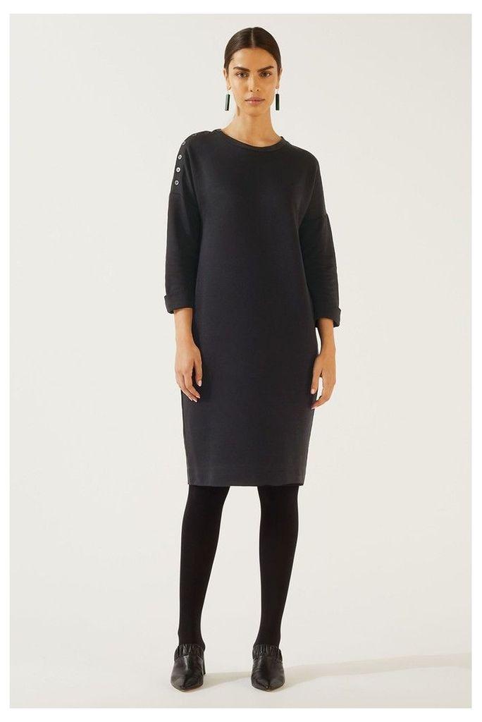 Womens Jigsaw Black Button Detail Dress -  Black