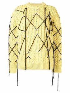 Calvin Klein 205W39nyc argyle stitch jumper - Yellow