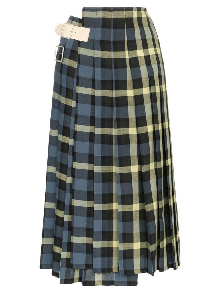 Golden Goose April pleated check wool skirt - Blue