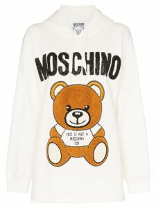 Moschino bear logo bead embellished cotton hoodie - White
