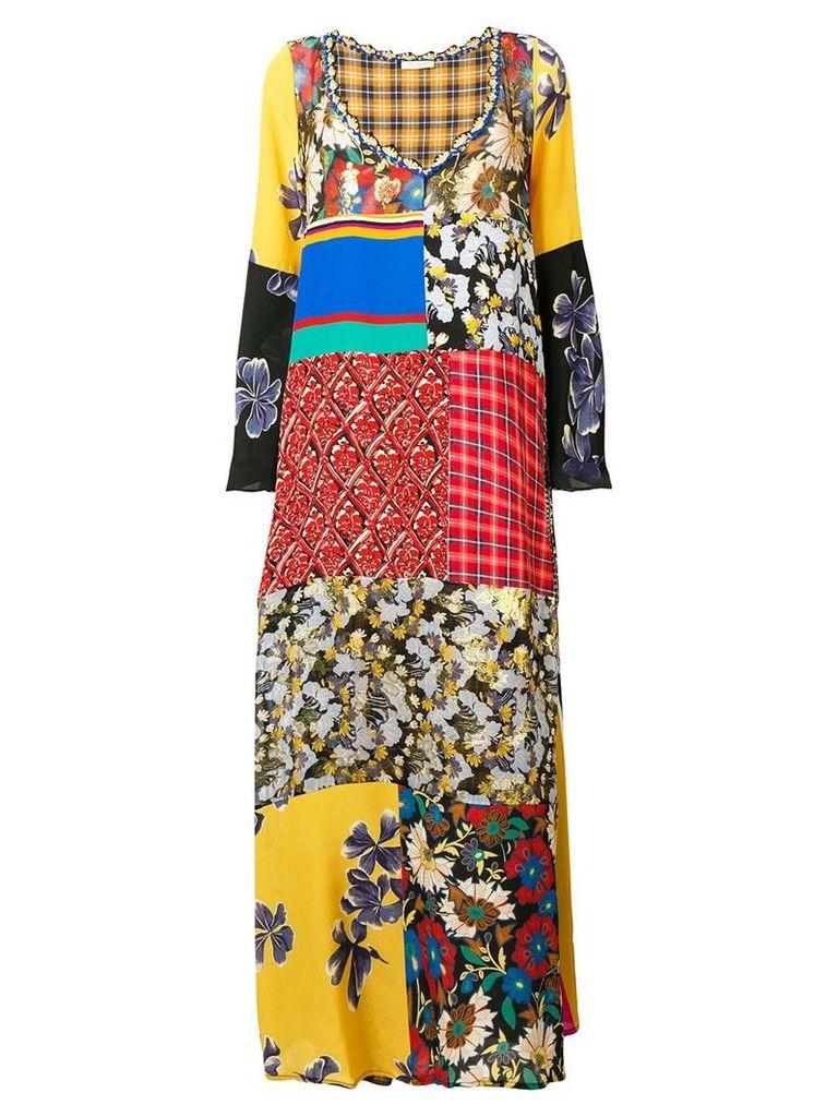 Anjuna patchwork flared maxi dress - Yellow