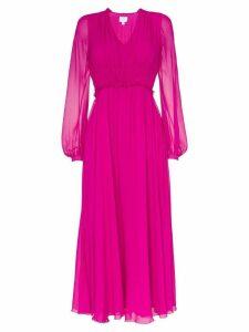 Giambattista Valli gathered silk midi-dress - Pink