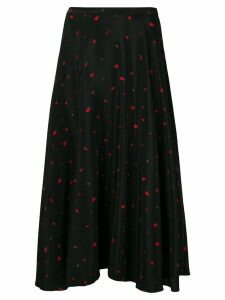 Chinti & Parker strawberry print midi skirt - Black