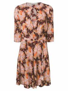 L'Autre Chose buttoned neck dress - Brown