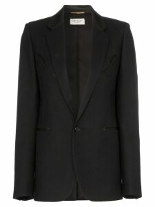 Saint Laurent blazer with leather trims - Black