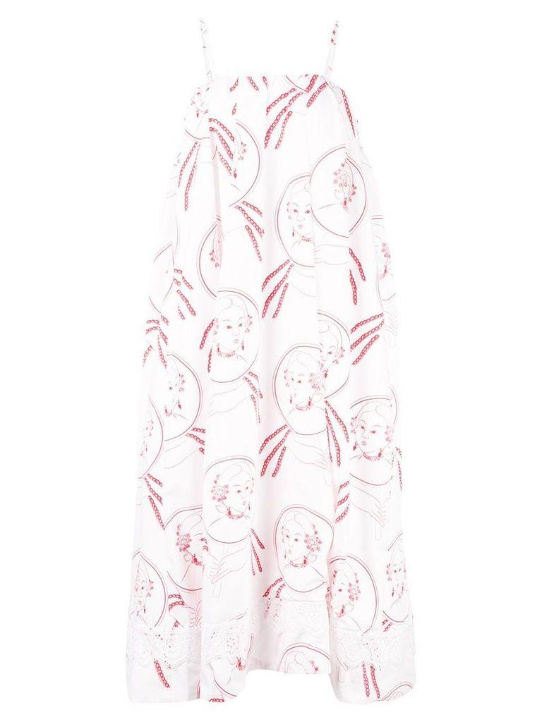 Simone Rocha illustration print flared dress - White