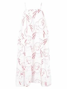 Simone Rocha illustration print flared dress - White