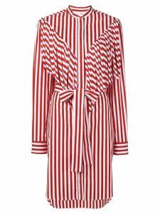 MSGM striped midi shirt dress - Red
